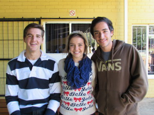 Nelis and Bernelee (going to Argentina) with our Argentinian intern Leandro